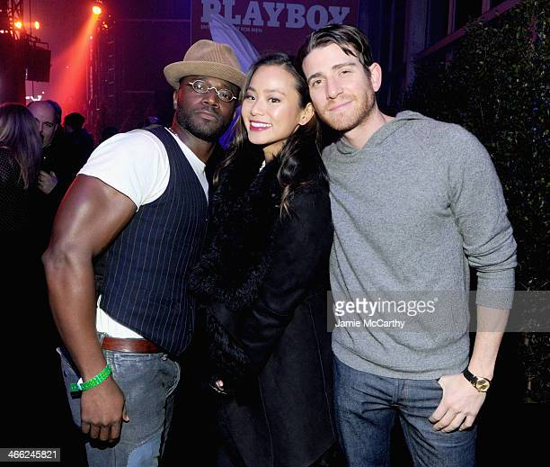Taye Diggs Jamie Chung and Bryan Greenburg attend The Playboy Party at The Bud Light Hotel Lounge on Friday January 31 2014 in New York City