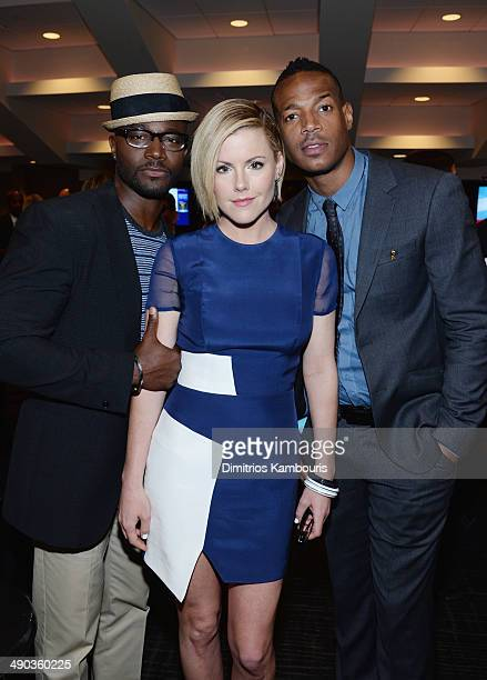 Taye Diggs Kathleen Robertson and Marlon Wayans attend the TBS / TNT Upfront 2014 at The Theater at Madison Square Garden on May 14 2014 in New York...