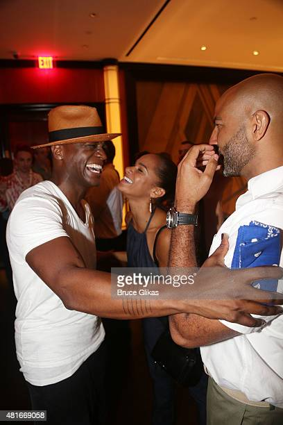 Taye Diggs Misty Copeland and Olu Evans chat at The Opening Night After Party for Hedwig and The Angry Inch on Broadway at The Lambs Club on July 22...