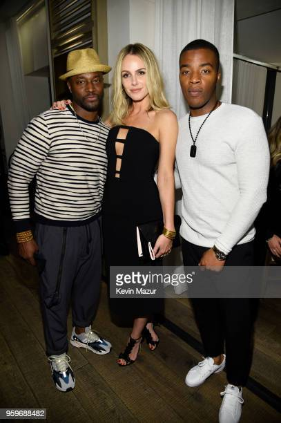 Taye Diggs Monet Mazur and Daniel Ezra attend The CW Network's 2018 upfront party at Avra Madison Estiatorio on May 17 2018 in New York City