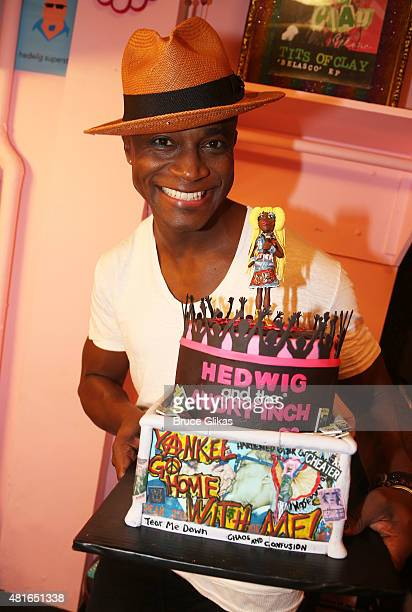 Taye Diggs poses backstage on his Opening Night in Hedwig and The Angry Inch on Broadway at The Belasco Theatre on July 22 2015 in New York City