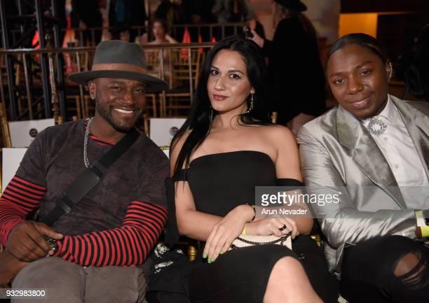 Taye Diggs Tara George and Laquan Brooks attend Los Angeles Fashion Week Powered by Art Hearts Fashion LAFW FW/18 10th Season Anniversary Backstage...
