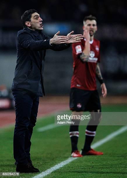 Tayfun Korkut head coach of 1 FC Kaiserslautern in action during the Second Bundesliga match between 1 FC Nuernberg and 1 FC Kaiserslautern at Arena...