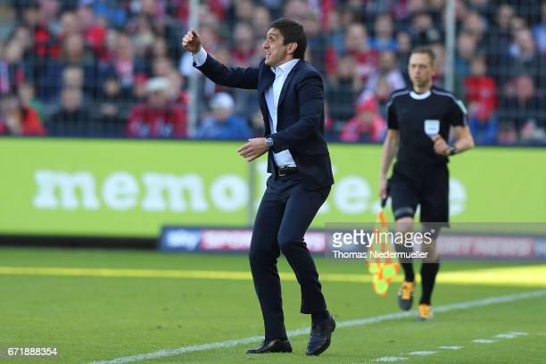 Tayfun Korkut head coach of Leverkusen gestures during the Bundesliga match between SC Freiburg and Bayer 04 Leverkusen at SchwarzwaldStadion on...