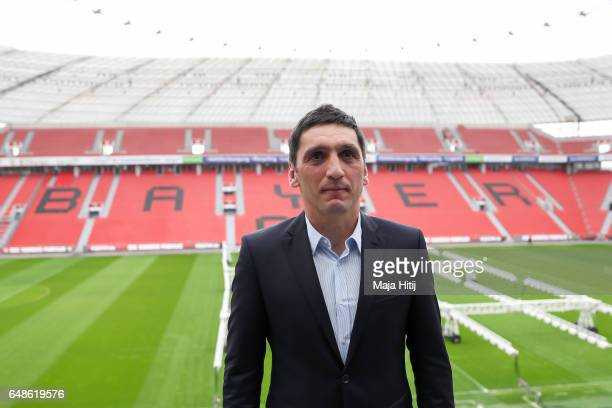 Tayfun Korkut the newly appointed head coach of Bayer Leverkusen smiles after a press conference at BayArena on March 6 2017 in Leverkusen Germany