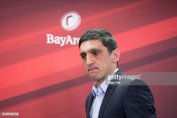 Tayfun Korkut the newly appointed head coach of Bayer Leverkusen arrives to a press conference on March 6 2017 in Leverkusen Germany