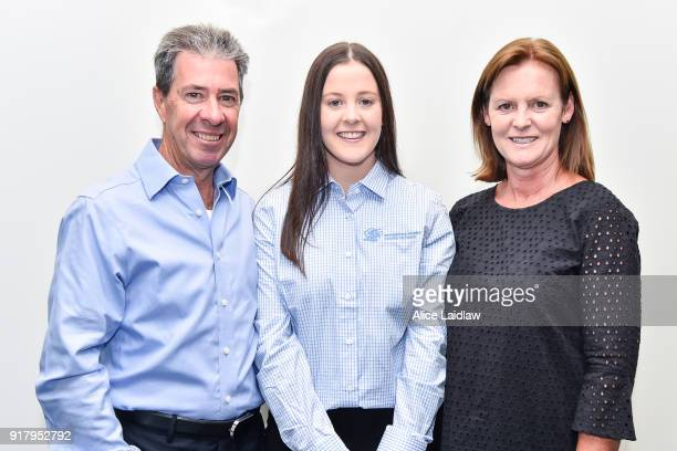 Tayla Childs with her parents Greg and Diane Childs at the Apprentice Jockeys Induction at Racing Victoria on February 14 2018 in Flemington Australia
