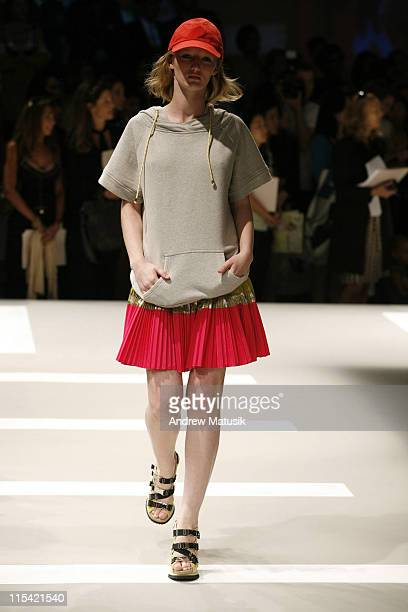 Tayla Collins wearing DKNY Spring 2007 during Olympus Fashion Week Spring 2007 DKNY Runway at 711 Greenwich Street in New York City New York United...