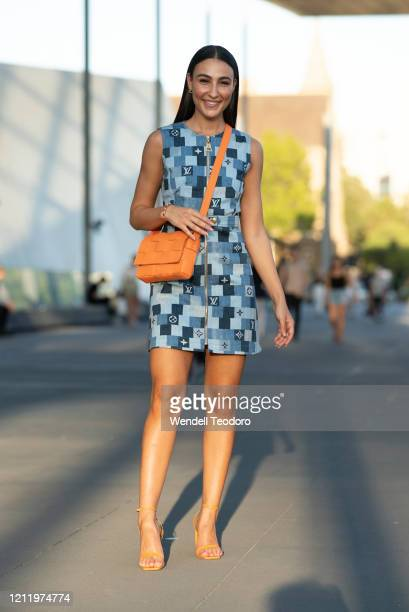 Tayla Demir wears Louis Vuitton at Melbourne Fashion Festival on March 12, 2020 in Melbourne, Australia.