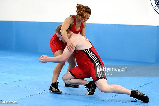 Tayla Ford and Sam Belkin from Christchurch train after the New Zealand Commonwealth Games Wrestling Team Announcement at Axis Jujitsu Gym on May 23...