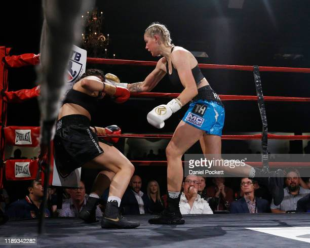 Tayla Harris and Janay Harding compete during the Australian Female Super Welterweight Boxing Title match during Big Time Boxing at the Melbourne...