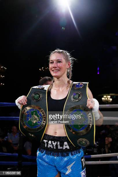 Tayla Harris celebrates after winning during the Australian Female Super Welterweight Boxing Title match against Janay Harding at the Melbourne...