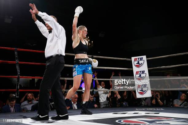 Tayla Harris celebrates after winning the Australian Female Super Welterweight Boxing Title match during Big Time Boxing at the Melbourne Pavilion on...
