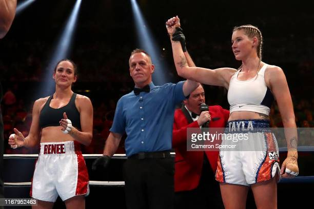 Tayla Harris claims victory over Renee Gartner during the undercard fight between Renee Gartner and Tayla Harris at ICC Sydney on August 14 2019 in...
