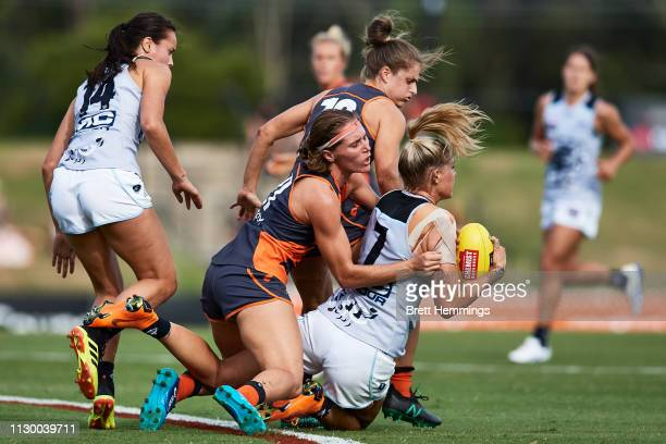 Tayla Harris of Carlton takes a mark during the round three AFLW match between the Greater Western Sydney Giants and the Carlton Blues at Blacktown...
