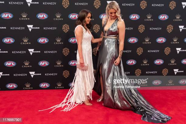 Tayla Harris of the Blues and Sarah Dargan arrives ahead of the 2019 Brownlow Medal at Crown Palladium on September 23, 2019 in Melbourne, Australia.