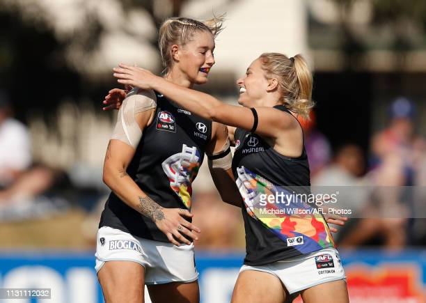Tayla Harris of the Blues and Sarah Hosking of the Blues celebrate during the 2019 NAB AFLW Round 07 match between the Western Bulldogs and the...