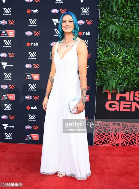 Tayla Harris of the Blues arrives ahead of the 2019 AFLW W Awards at The Peninsula on April 02 2019 in Melbourne Australia