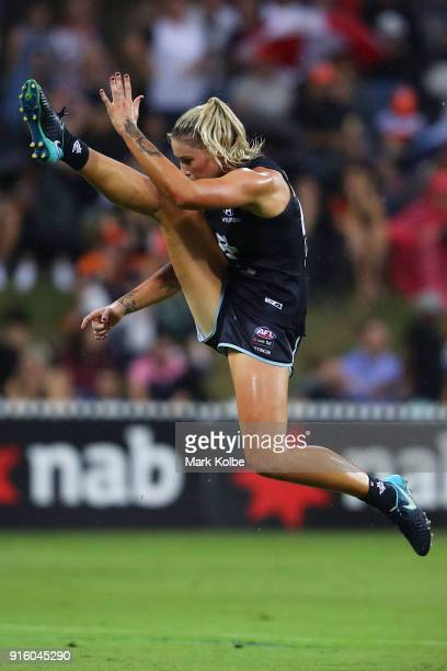 Tayla Harris of the Blues kicks at goal during the round 20 AFLW match between the Greater Western Sydney Giants and the Carlton Blues at Drummoyne...