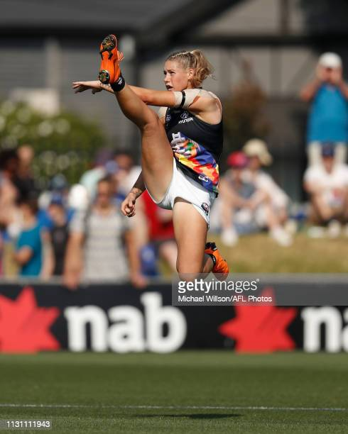 Tayla Harris of the Blues kicks the ball during the 2019 NAB AFLW Round 07 match between the Western Bulldogs and the Carlton Blues at VU Whitten...