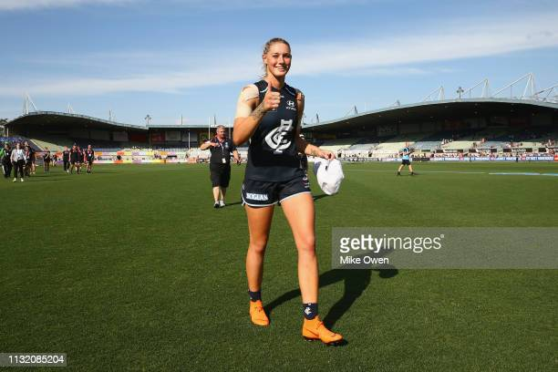 Tayla Harris of the Blues leaves the field of play after winning the AFLW Preliminary Final match between the Carlton Blues and the Fremantle Dockers...