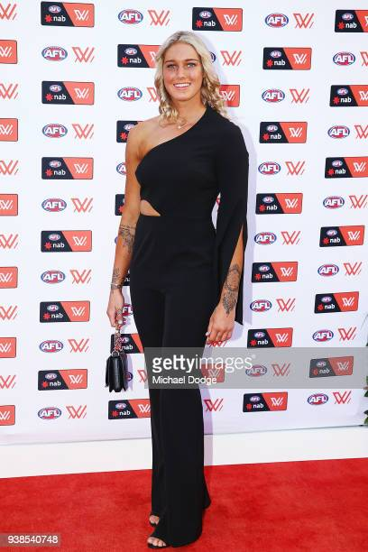 Tayla Harris of the Blues poses at the 2018 AFW Awards at he Peninsula on March 27 2018 in Melbourne Australia