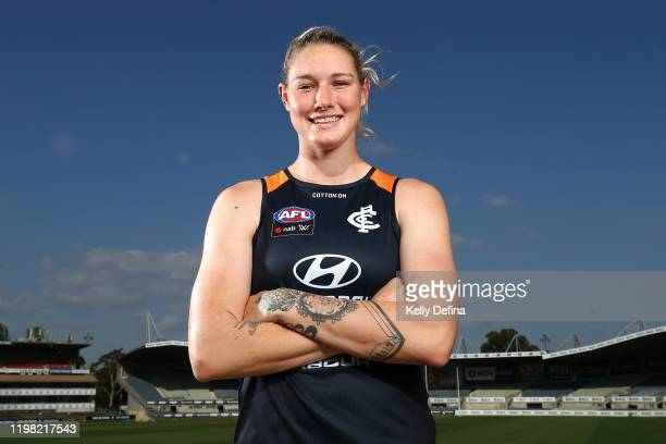 Tayla Harris of the Blues poses for a portrait during a Carlton Blues AFLW media opportunity at Ikon Park on January 08 2020 in Melbourne Australia