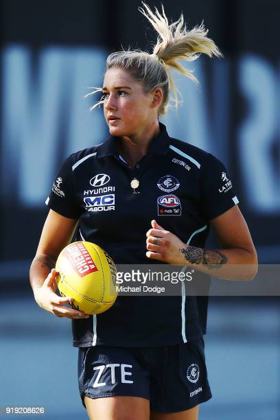 Tayla Harris of the Blues warms up during the round three AFLW match between the Carlton Blues and the Brisbane Lions at Ikon Park on February 17...