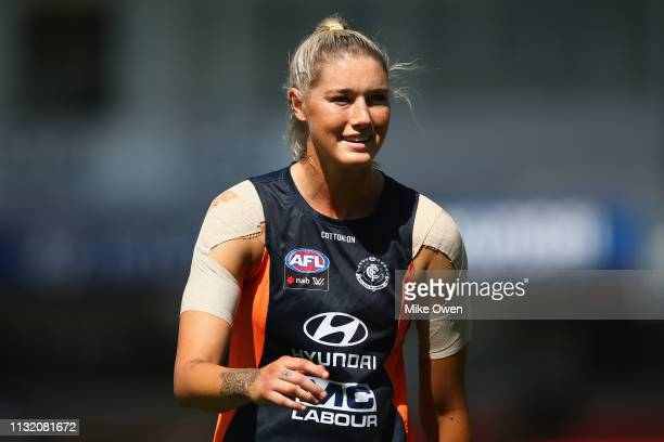 Tayla Harris of the Blues warms up prior to the AFLW Preliminary Final match between the Carlton Blues and the Fremantle Dockers at Ikon Park on...