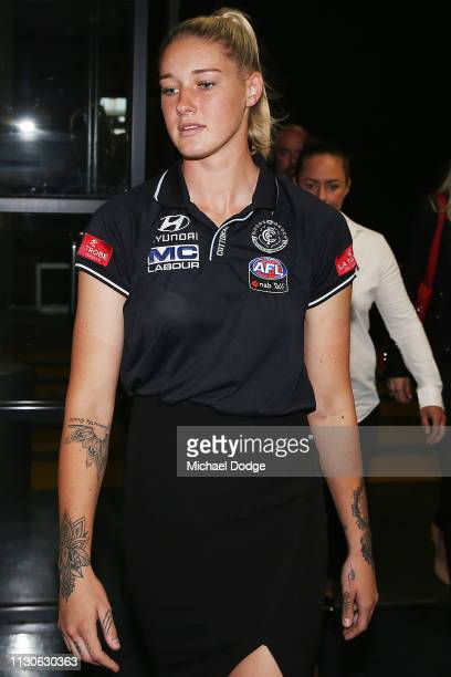 Tayla Harris of the Carlton Blues arrives for the AFLW Tribunal hearing at AFL House on February 19 2019 in Melbourne Australia