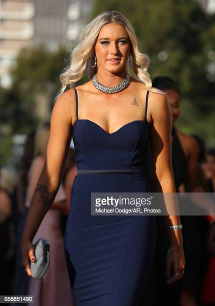 Tayla Harris of the Lions arrives during the The W Awards at the Peninsula on March 28 2017 in Melbourne Australia