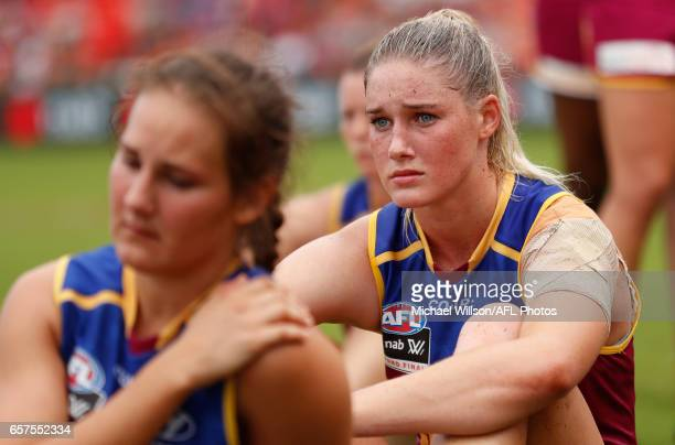 Tayla Harris of the Lions looks dejected after a loss during the 2017 AFLW Grand Final match between the Brisbane Lions and the Adelaide Crows at...
