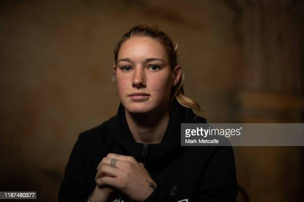 Tayla Harris poses during a press conference at Novotel Sydney Darling Square on August 12 2019 in Sydney Australia
