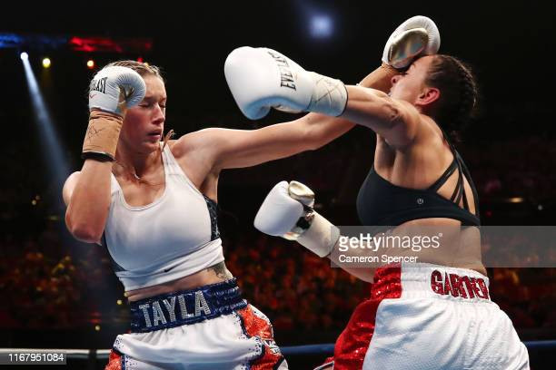 Tayla Harris punches Renee Gartner during the undercard fight between Renee Gartner and Tayla Harris at ICC Sydney on August 14 2019 in Sydney...