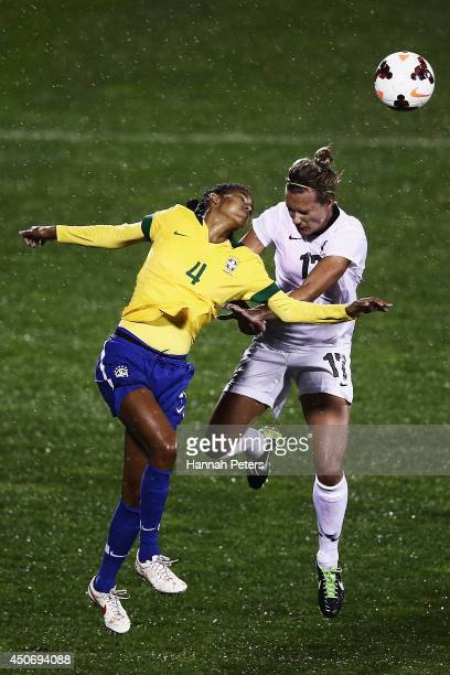 Tayla Pereira Dos Santos of Brazil competes with Hannah Wilkinson of New Zealand during the Women's International friendly match between the New...
