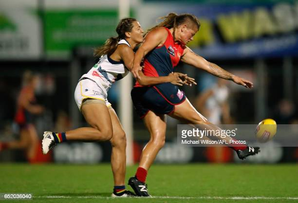 Tayla Thorn of the Crows tackled Richelle Cranston of the Demons during the 2017 AFLW Round 06 match between the Adelaide Crows and the Melbourne...