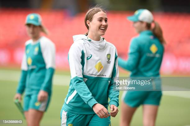 Tayla Vlaeminck of Australia during a training session after a media opportunity ahead of the Women's International Test match between Australia and...