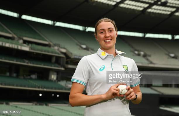 Tayla Vlaeminck poses during the launch of THE RECORD documentary by Amazon Prime featuring the Australian Women's cricket team's successful 2020...