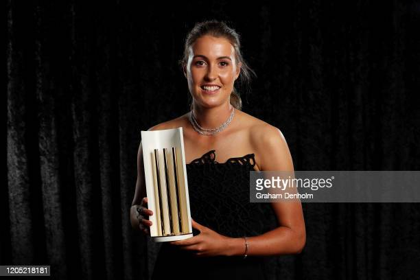 Tayla Vlaeminck poses with Betty Wilson Young Cricketer of the Year award during the 2020 Cricket Australia Awards at Crown Palladium on February 10...