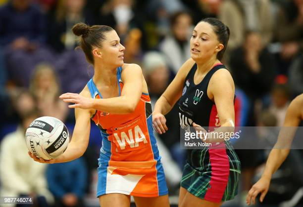 Taylah Davies of the Giants in action during the Australian Netball League semi final between Victoria Fury and Canberra Giants at the ACT Netball...