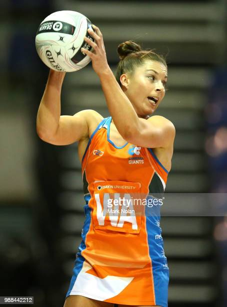 Taylah Davies of the Giants in action during the Australian Netball League grand final between the Tasmanian Magpies and the Canberra Giants at AIS...