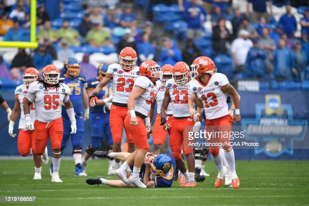Taylen Blaylock of the Sam Houston State Bearkats reacts after tackling Cole Frahm of the South Dakota State Jackrabbits during the Division I FCS...