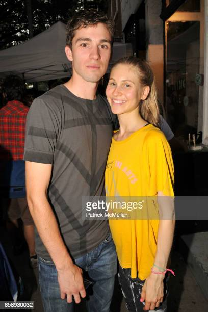 Taylen Richards and Jessica Minkoff attend Opening Party for DECENT EXPOSURES by ZACH HYMAN at Chair and the Maiden Gallery on August 20 2009 in New...