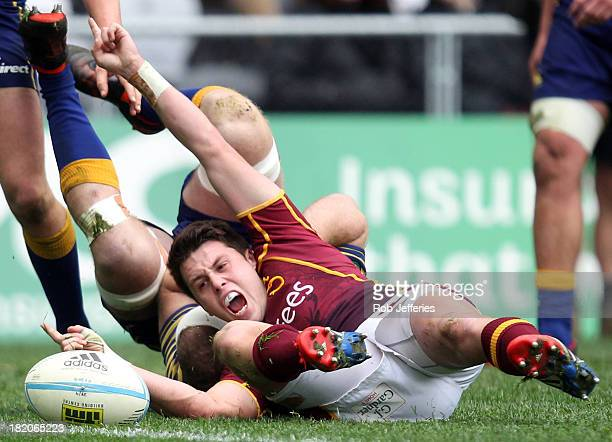 Tayler Adams of Southland celebrates scoring a try during the round seven ITM Cup match between Otago and Southland at Forsyth Barr Stadium on...