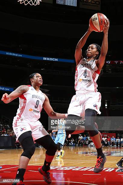 Tayler Hill of the Washington Mystics grabs the rebound against the Chicago Sky on August 23 2015 at the Verizon Center in Washington DC NOTE TO USER...