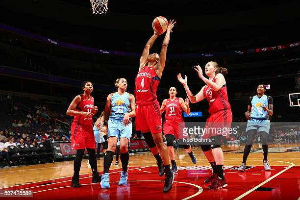 Tayler Hill of the Washington Mystics grabs the rebound against the Chicago Sky on June 1 2016 at Verizon Center in Washington DC NOTE TO USER User...