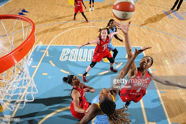Tayler Hill of the Washington Mystics grabs the rebound against the Chicago Sky on June 3 2016 at Allstate Arena in Rosemont IL NOTE TO USER User...