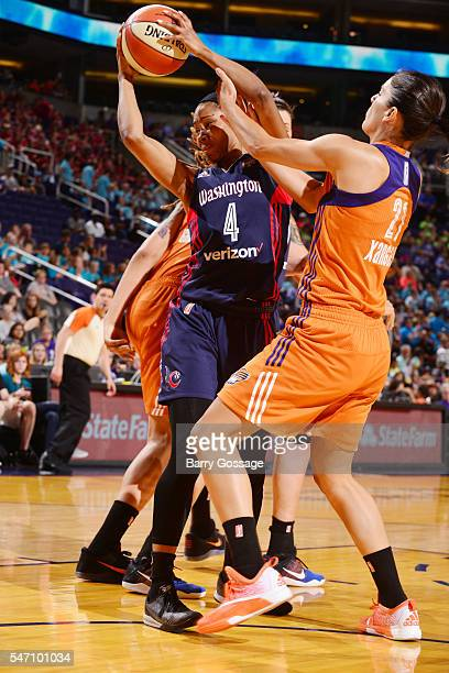 Tayler Hill of the Washington Mystics grabs the rebound against the Phoenix Mercury on July 13 2016 at Talking Stick Resort Arena in Phoenix Arizona...