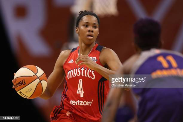 Tayler Hill of the Washington Mystics handles the ball during the WNBA game against the Phoenix Mercury at Talking Stick Resort Arena on July 5 2017...