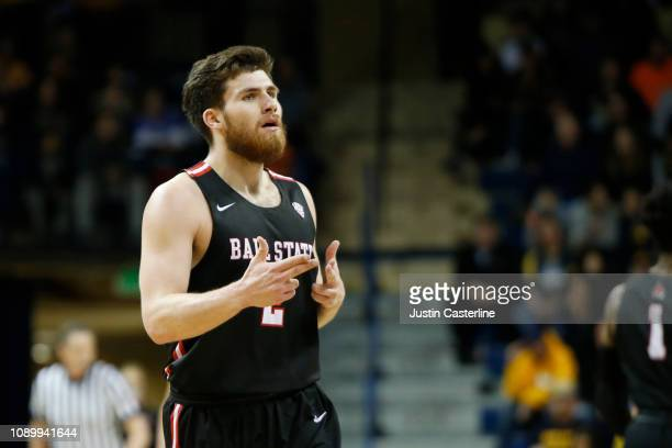 Tayler Persons of the Ball State Cardinals reacts after a play in the game against the Toledo Rockets during the second half at Savage Arena on...